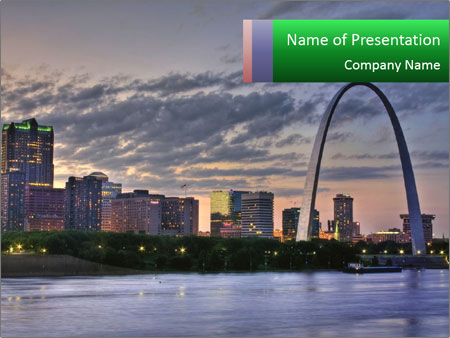 Cityscape of St. Louis Missouri at night PowerPoint Templates