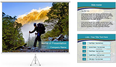 A hiker pauses for a rest at a clearing while PowerPoint Template