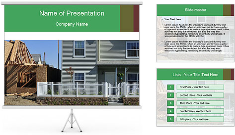 Single family residential development in a dense urban area PowerPoint Template