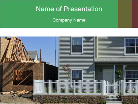 Single family residential development in a dense urban area PowerPoint Templates