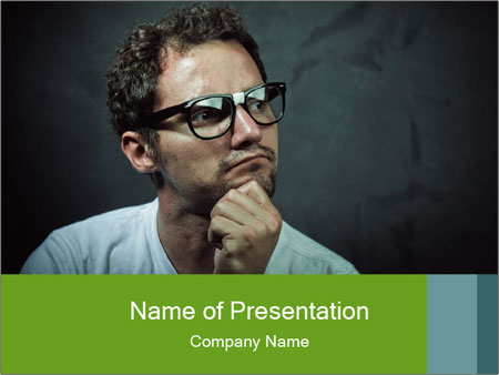 Young guy wearing white t-shirt PowerPoint Template