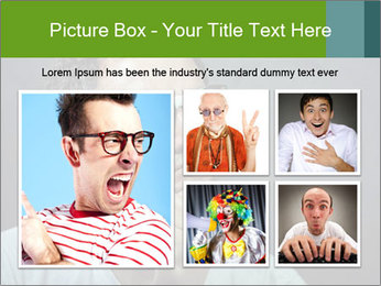 Young guy wearing white t-shirt PowerPoint Template - Slide 19