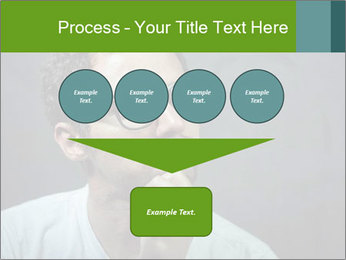 Young guy wearing white t-shirt PowerPoint Template - Slide 93