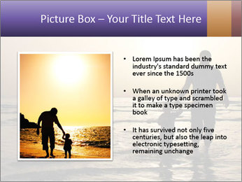 Father and his child by the sea shore, sunset PowerPoint Template - Slide 13