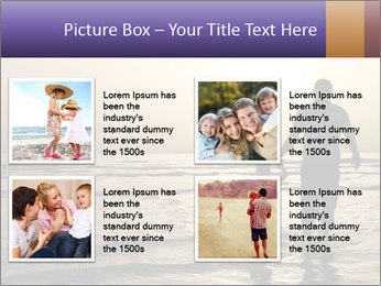 Father and his child by the sea shore, sunset PowerPoint Template - Slide 14