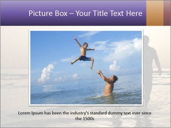 Father and his child by the sea shore, sunset PowerPoint Template - Slide 16