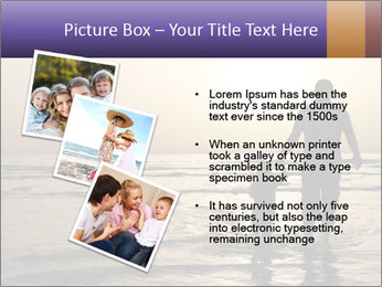 Father and his child by the sea shore, sunset PowerPoint Template - Slide 17