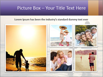 Father and his child by the sea shore, sunset PowerPoint Template - Slide 19