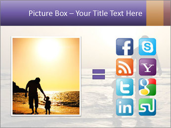 Father and his child by the sea shore, sunset PowerPoint Template - Slide 21