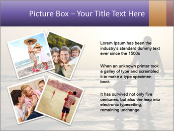 Father and his child by the sea shore, sunset PowerPoint Template - Slide 23