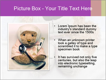 An adorable teddy bear laying in bed PowerPoint Template - Slide 13