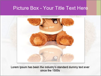 An adorable teddy bear laying in bed PowerPoint Template - Slide 15