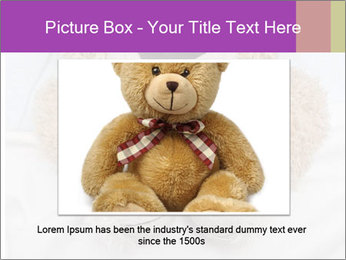 An adorable teddy bear laying in bed PowerPoint Template - Slide 16