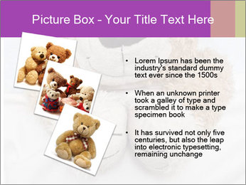 An adorable teddy bear laying in bed PowerPoint Template - Slide 17