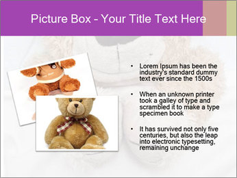 An adorable teddy bear laying in bed PowerPoint Template - Slide 20