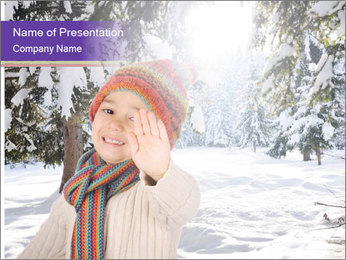 Happy kid wearing warm clothes in snow on a cold winter day PowerPoint Template - Slide 1