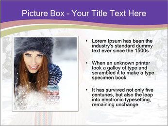 Happy kid wearing warm clothes in snow on a cold winter day PowerPoint Template - Slide 13