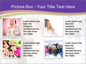 Happy kid wearing warm clothes in snow on a cold winter day PowerPoint Template - Slide 14