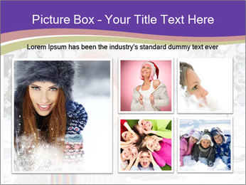 Happy kid wearing warm clothes in snow on a cold winter day PowerPoint Template - Slide 19