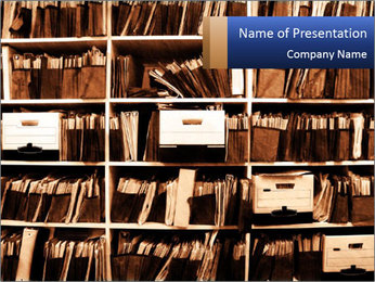 Office shelves full of files and boxes PowerPoint Template