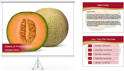 Orange cantaloupe melon isolated PowerPoint Template