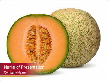 Orange cantaloupe melon isolated PowerPoint Template - Slide 1
