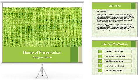 Green linen texture PowerPoint Template