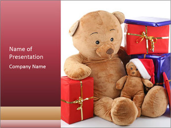 Christmas teddy bear with gifts PowerPoint Template - Slide 1