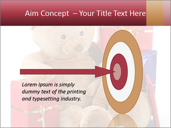 Christmas teddy bear with gifts PowerPoint Template - Slide 83