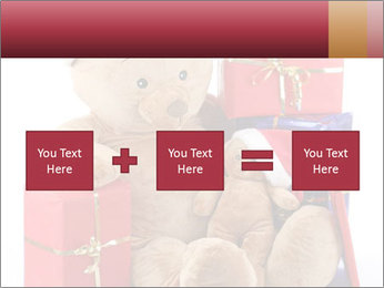 Christmas teddy bear with gifts PowerPoint Templates - Slide 95