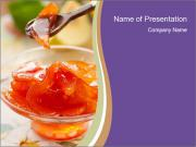 Sweet quince jam in glass dish with spoon PowerPoint Templates