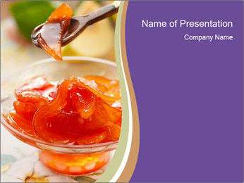 Sweet quince jam in glass dish with spoon PowerPoint Template - Slide 1