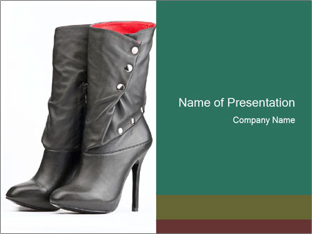 Pair of black female boots with red lining PowerPoint Templates