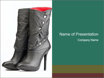 Pair of black female boots with red lining PowerPoint Template