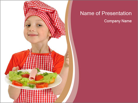 Little girl holding plate with ham PowerPoint Templates