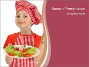Little girl holding plate with ham PowerPoint Template