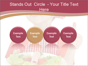 Little girl holding plate with ham PowerPoint Templates - Slide 76