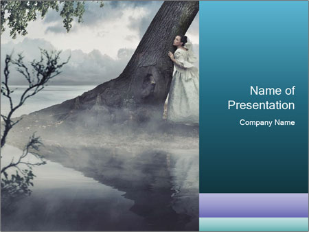 A woman in beauty scenery PowerPoint Templates