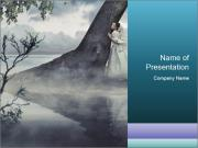 A woman in beauty scenery PowerPoint Template
