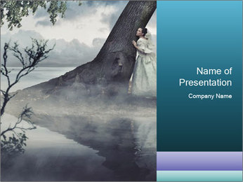 A woman in beauty scenery PowerPoint Templates - Slide 1