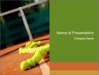 Tennis ball, vintage rackets PowerPoint Template