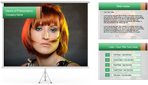 Beautiful red haired woman with fashion bob hairstyle PowerPoint Template