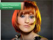 Beautiful red haired woman with fashion bob hairstyle PowerPoint Templates