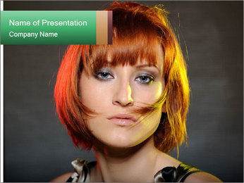 Beautiful red haired woman with fashion bob hairstyle PowerPoint Template - Slide 1