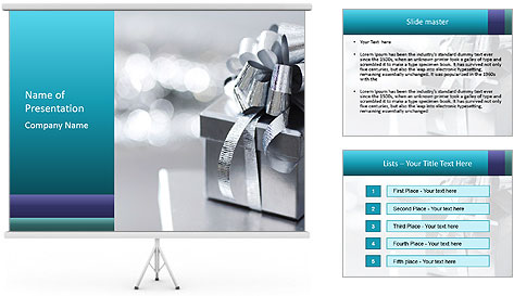 Silver christmas gift PowerPoint Template