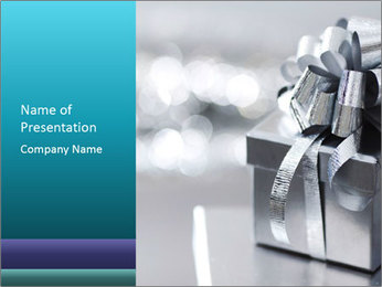 Silver christmas gift PowerPoint Template - Slide 1