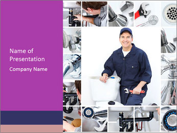 Mature plumber fixing a sink at kitchen PowerPoint Template