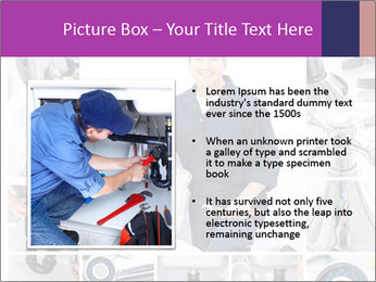 Mature plumber fixing a sink at kitchen PowerPoint Template - Slide 13