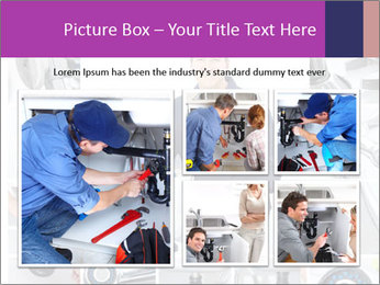 Mature plumber fixing a sink at kitchen PowerPoint Template - Slide 19