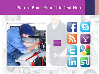Mature plumber fixing a sink at kitchen PowerPoint Template - Slide 21